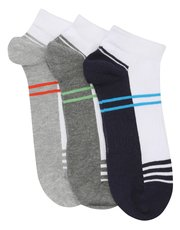 Cotton rich stripe trainer socks three pack