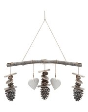 Pinecone and heart hanging decoration