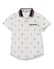 Palm print polo collar shirt (3 - 13 yrs)