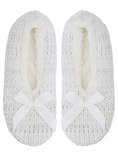 Cable knit footsie slippers