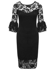 Frill sleeve lace dress