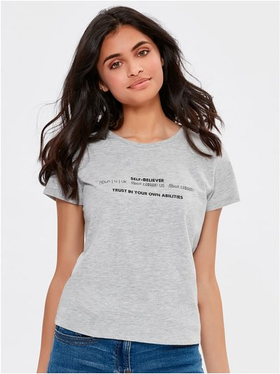 Teen self believer slogan t-shirt