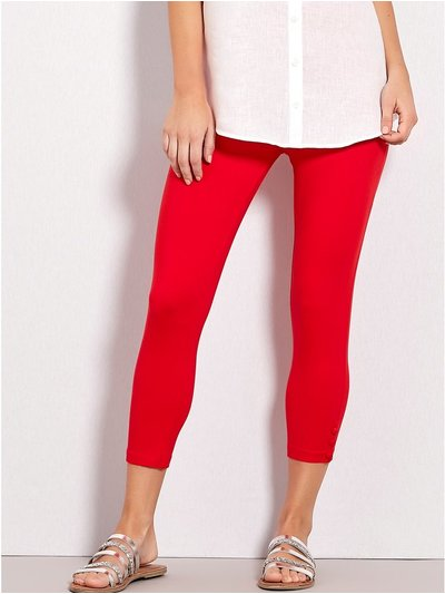 Button trim cropped leggings