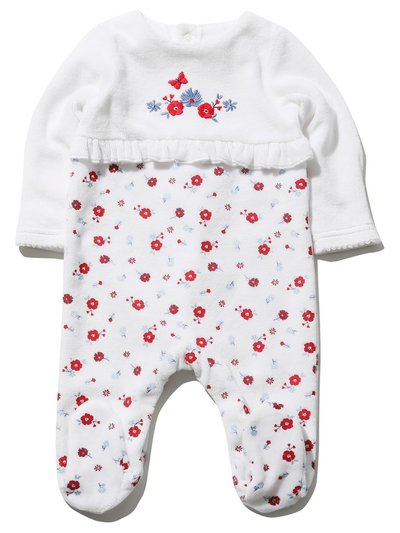 Floral velour sleepsuit (Tiny baby - 18 mths)
