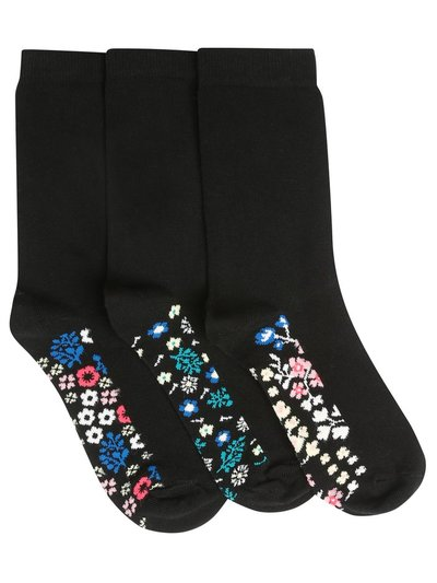 Floral sole socks three pack