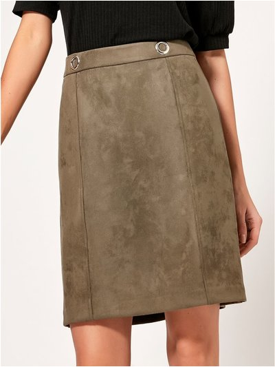 Eyelet faux suede skirt