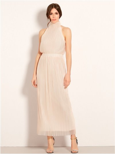 VILA high neck pleated maxi dress
