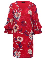 Floral flute sleeve shift dress