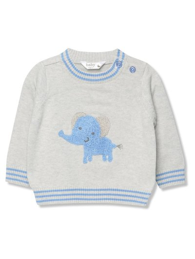 Elephant crew neck knitted jumper (0 - 9 mths)