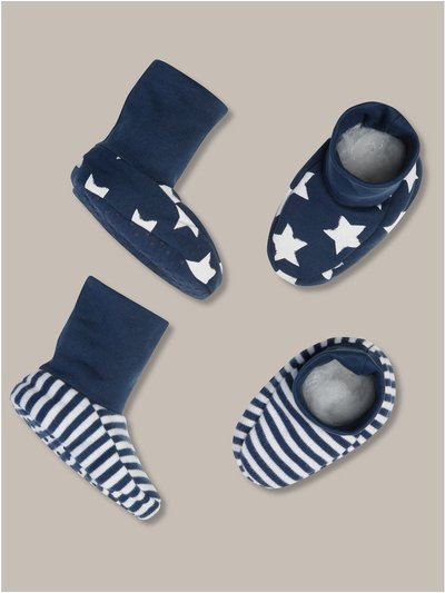 Stars and stripes printed booties two pack (newborn-12mths)