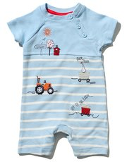 Stripe farm applique romper