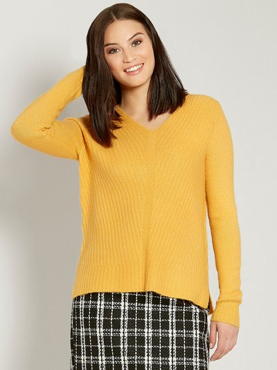Chevron v neck ribbed jumper