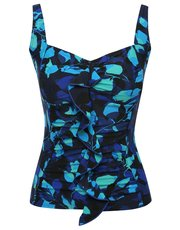 Blue leaves frill front tankini top