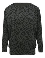 Leopard print sweat top
