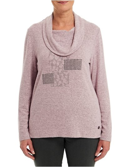 TIGI pink cowl neck top