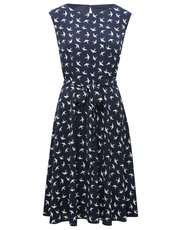 Bird print fit and flare dress
