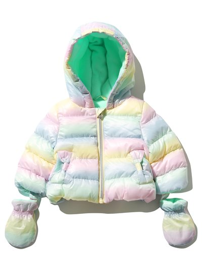 Rainbow ombre padded coat with mittens