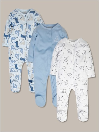 Dinosaur sleepsuit three pack (tiny baby-24mths)