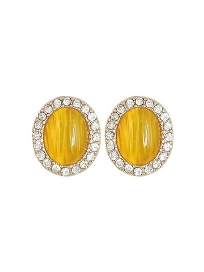 Muse yellow stone diamante trim earrings