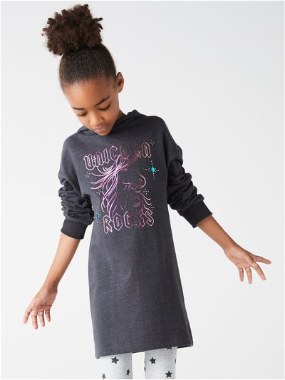 Unicorn hooded sweat dress (3-12yrs)