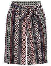 Tribal print tie front shorts