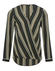 Stripe wrap front shirt