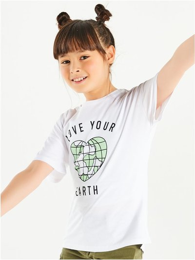 Love your earth slogan t-shirt (3-12yrs)