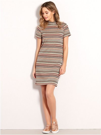 Petite high neck geometric shift dress
