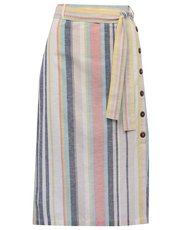 Stripe button side midi skirt
