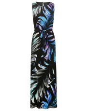 Tropical leaf print maxi dress