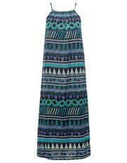 Tile print midi beach dress
