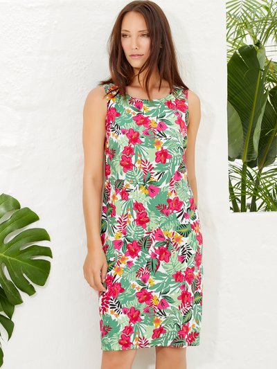Tropical floral print tunic dress