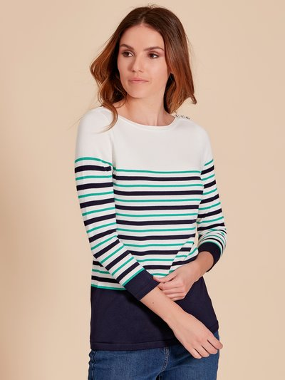 Striped button trim jumper