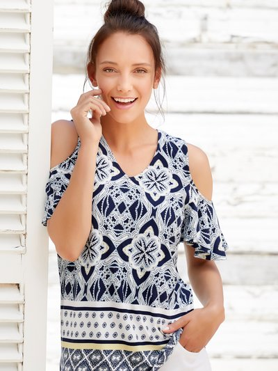 Mosaic print cold shoulder top