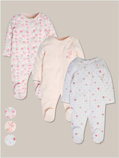 Floral sleepsuits three pack (tiny baby-18mths)