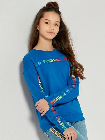 Teens' rainbow slogan sweatshirt