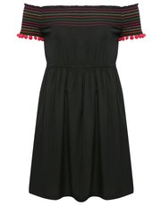 Teens' shirred bardot dress