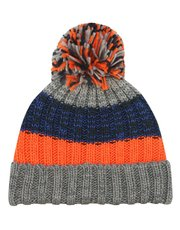 Stripe yarn pom pom hat