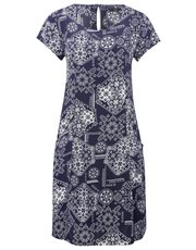 Tile print pocket day dress