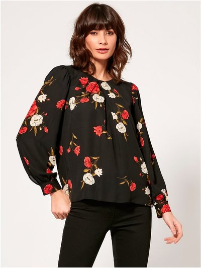 Floral pleat front blouse