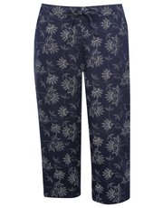 Plus floral print linen trousers