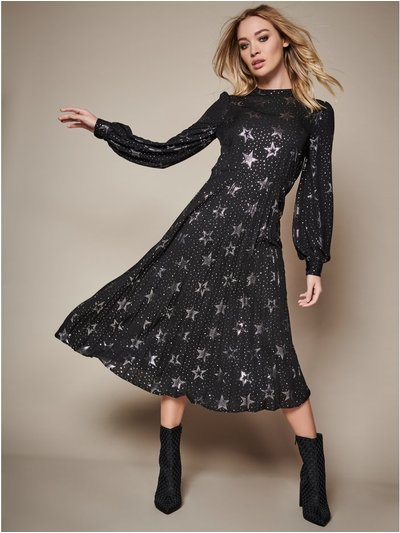 Sonder Studio pleated star foil midi dress