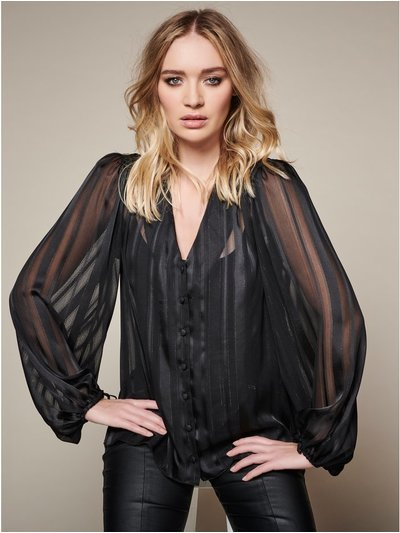 Sonder Studio satin stripe v neck blouse