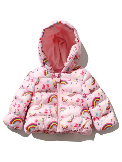 Rainbow print padded coat