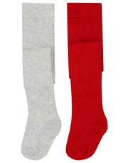 Heart cable knit tights two pack