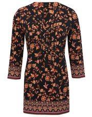 Floral border print tunic top