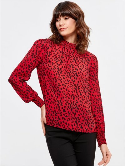 Animal print shirred blouse
