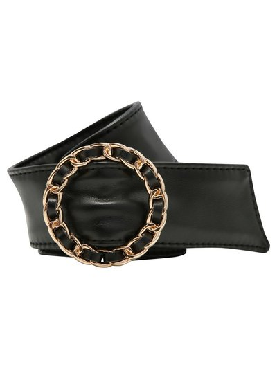 Wide woven circle buckle belt