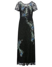 Peacock feather embellished maxi dress