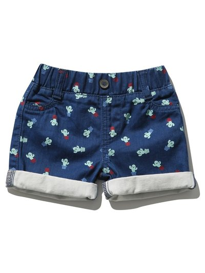 Cactus print denim shorts